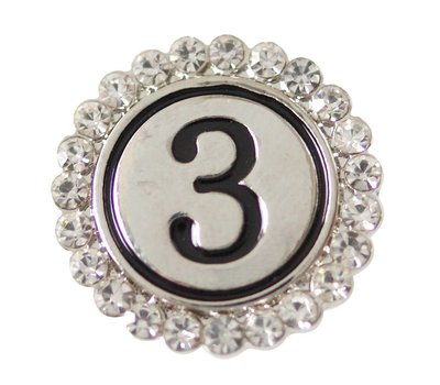 Clicks en Chunks | Click cijfer 3 zilverkleurig voor clicks sieraden
