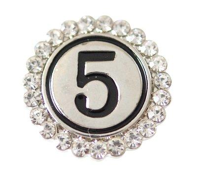 Clicks en Chunks | Click cijfer 5 zilverkleurig voor clicks sieraden