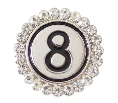 Clicks en Chunks | Click cijfer 8 zilverkleurig voor clicks sieraden