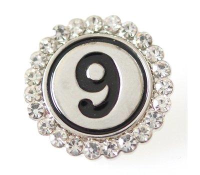 Clicks en Chunks | Click cijfer 9 zilver  voor clicks sieraden