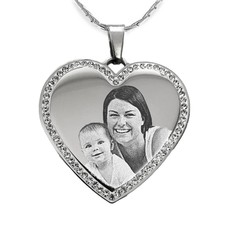 Graveer Ketting Foto en of tekst graveren op hanger hart met crystals zilver inclusief ketting