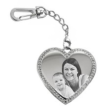 Graveer Sleutelhanger Foto en of tekst graveren op hanger hart met crystals zilver sleutelhanger