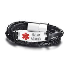 Medische alert armband Medische ID armband man leer