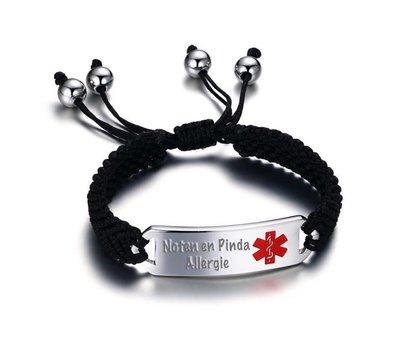 Medische Alert Sieraden Tekst graveren op Medische armband kind gevlochten touw