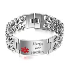 Medische Alert Sieraden Tekst graveren op Medische informatie Armband van Roestvrij staal
