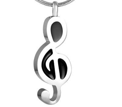 Assieraden Assieraad Ashanger muzieknoot zilver inclusief ketting