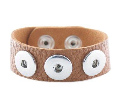 Clicks Armbanden |  Clicks armband leer bruin voor clicks en chunks