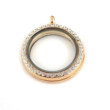 Floating locket Goudkleurige memory locket rond large strass