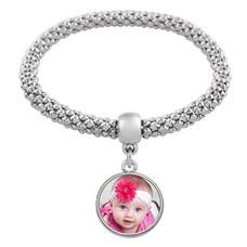 Armband met Foto Elastische armband met foto zilverkleurig