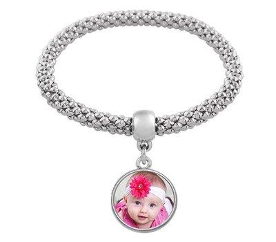 Armband met Foto  Elastische armband met foto zilver