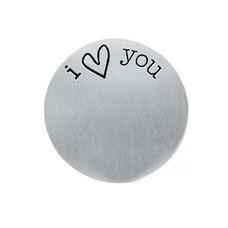 Floating locket  discs Memory locket disk i love you zilverkleurig large