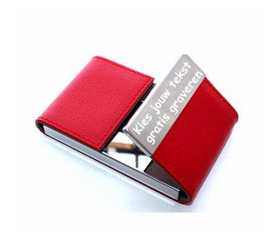 Visitekaartjeshouder Graveren Visitekaartjeshouder leer rood