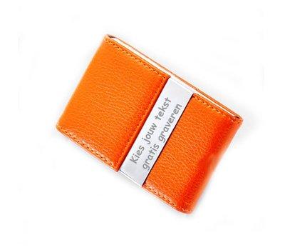 Visitekaartjeshouder Graveren Visitekaartjeshouder leer oranje