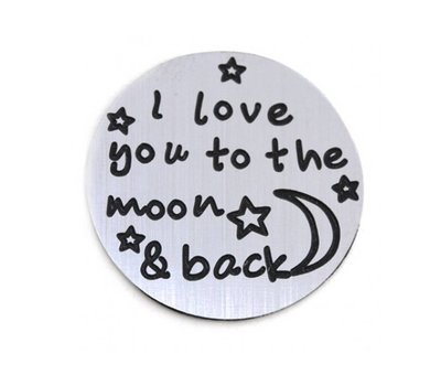 Floating locket  discs Memory locket disk i love you to the moon zilverkleurig large
