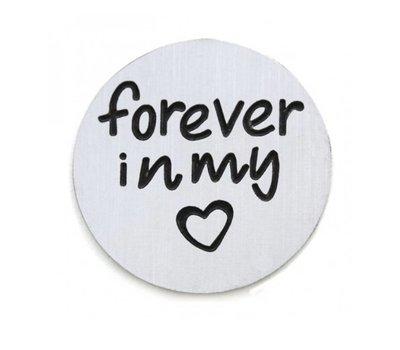 Floating locket  discs Memory locket disk forever in my hart zilverkleurig large