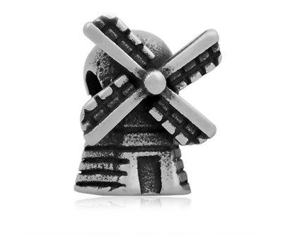 Bedels en Kralen Bedel molen zilverkleurig voor bedelarmbanden