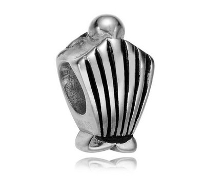 Bedels en Kralen Bedel schelp zilverkleurig voor bedelarmbanden