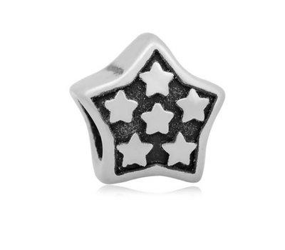 Bedels en Kralen Bedel sterren zilverkleurig voor bedelarmbanden