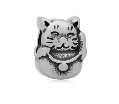 Bedels en Kralen Bedel lucky cat zilverkleurig voor bedelarmbanden