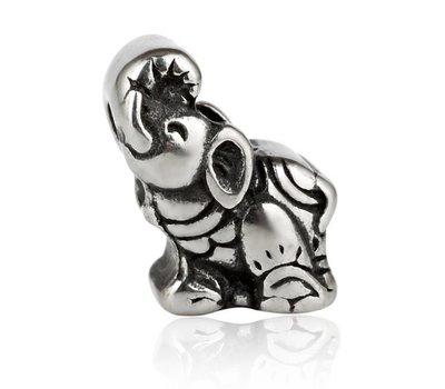 Bedels en Kralen Bedel olifant zilverkleurig voor bedelarmbanden