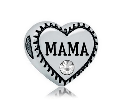 Bedels en Kralen Bedel hartje mama voor bedelarmbanden
