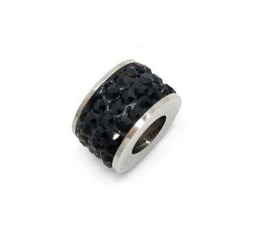 Bedels en Kralen Bedel glinsterend zwart voor bedelarmbanden