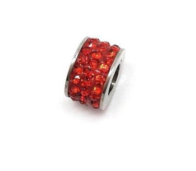 Bedels en Kralen Bedel glinsterend rood voor bedelarmbanden