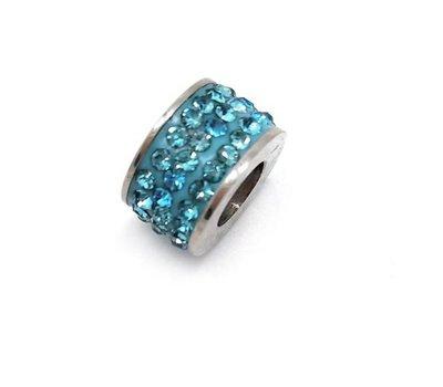 Bedels en Kralen Bedel glinsterend licht blauw voor bedelarmbanden