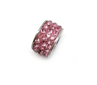 Bedels en Kralen Bedel glinsterend roze voor bedelarmbanden