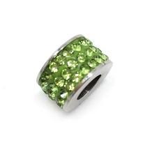 Bedels en Kralen Bedel glinsterend licht groen