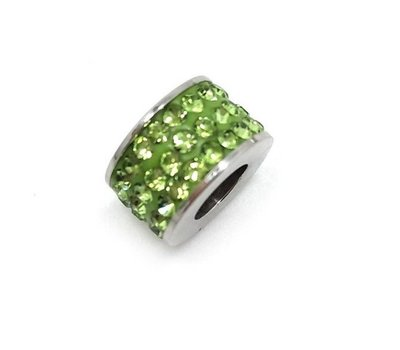 Bedels en Kralen Bedel glinsterend licht groen voor bedelarmbanden