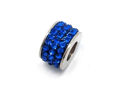 Bedels en Kralen Bedel glinsterend donker blauw voor bedelarmbanden
