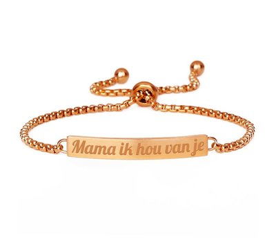 Armband met Naam Slide armband graveren rosé goudkleurig