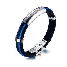 Armband met Naam Mannen armband graveren blauw