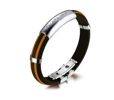 Armband met Naam Mannen armband graveren oranje