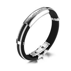 Armband met Naam Mannen armband graveren wit