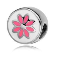 Bedels en Kralen Bedel roze bloem