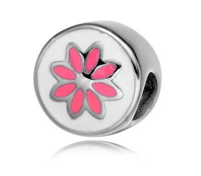 Bedels en Kralen Bedel roze bloem voor clicks sieraden