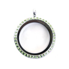 Floating locket Zilverkleurige memory locket rond large strass groen