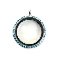 Floating locket Zilverkleurige memory locket rond large strass blauw