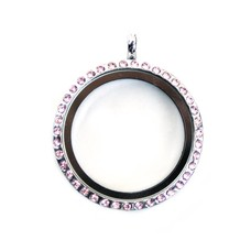 Floating locket Zilverkleurige memory locket rond large strass roze