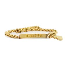 Armband met Naam Plaatarmband graveren smal goud