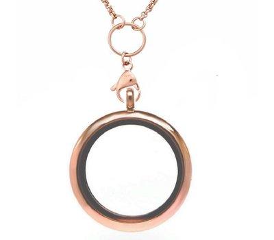 Floating locket Rosé goudkleurige memory locket rond XL met ketting