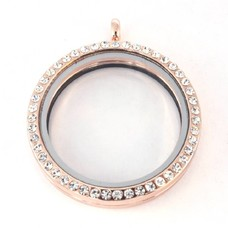 Floating locket Rosé goudkleurige memory locket rond XL strass