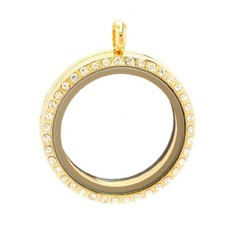 Floating locket Goudkleurige memory locket rond XL strass