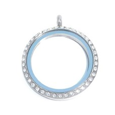 Floating locket Zilverkleurige memory locket rond XL strass