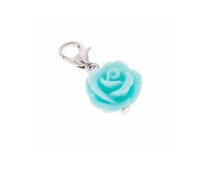 Clip on charms Roosje dangle blauw
