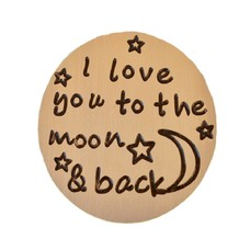 Floating locket  discs Memory locket disk i love you to the moon goudkleurig large