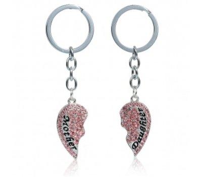 Moederdag cadeau Sleutelhanger Moeder en Dochter Roze crystals