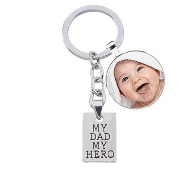 Sleutelhanger met foto Sleutelhanger voor Papa met Foto - My Dad My Hero